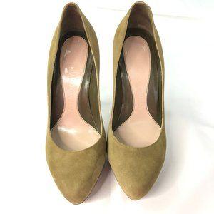 Alexander McQueen Olive Green Suede Platform Heels
